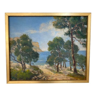 French Loire Valley Custom Framed Oil Painting For Sale