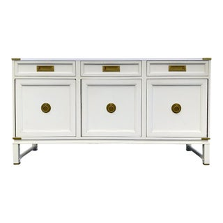 Vintage Ficks Reed White Campaign Credenza With Brass Hardware