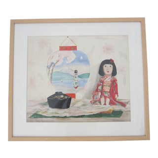 1930s Japanese Still Life Watercolor of Japanese Doll and Paper Lantern For Sale
