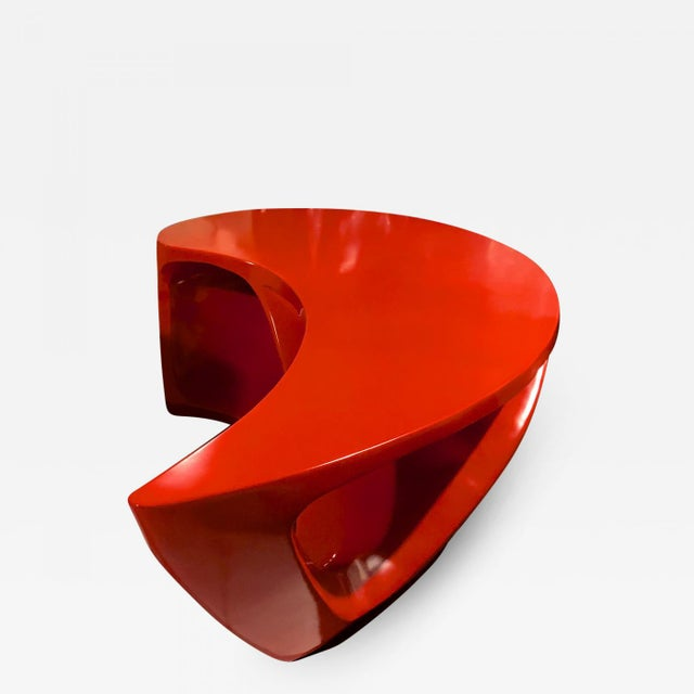 Resin Boomerang Shaped Red Abstract Coffee Table For Sale - Image 7 of 7