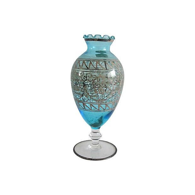 Teal Murano Glass & Gilded Sterling Vase - Image 2 of 4
