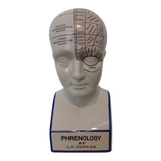 Vintage 1970s Reproduction of the L.N. Fowler Phrenology Bust in Color For Sale
