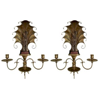 1940s Art Deco Shou Xing Bronze Art Deco Wall Sconces - a Pair For Sale