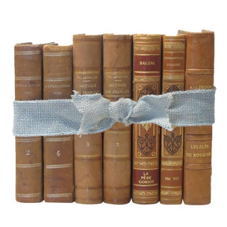 French Camel-Hued Leather Books, S/7 For Sale