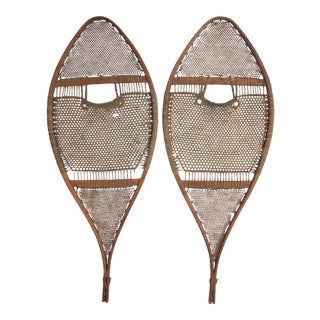 Early 1900s Intricately Woven Snowshoes, Pair For Sale