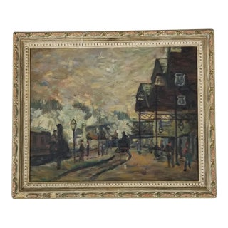 1940's French Landscape Oil Painting For Sale