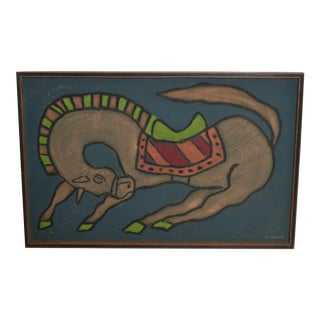 Mexican Artist, Guillermo Olguin, Modern Mixed Media Horse Wall Art, 97 For Sale