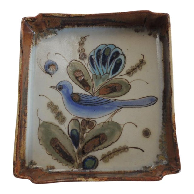 Vintage Talavera Hand Painted Ceramic Catchall Tray For Sale