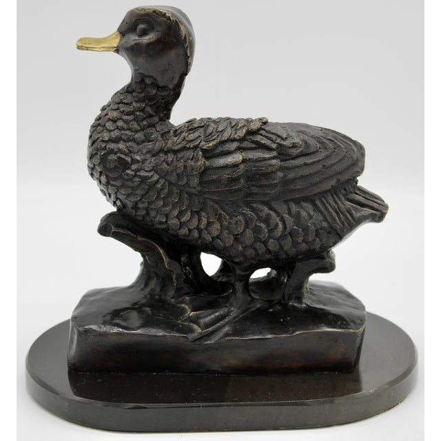 1950s Vintage Bronze Waterfowl Sculpture For Sale - Image 4 of 13