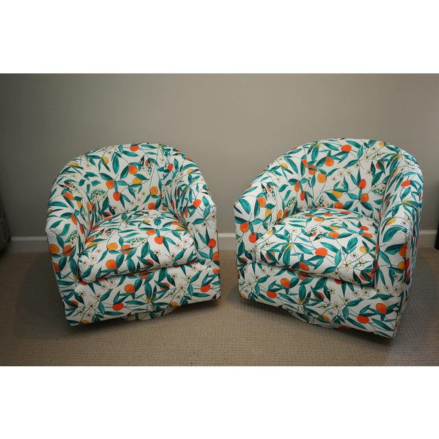 Milo Baughman Vintage Mid-Century Baughman Style Swivel Chairs- A Pair For Sale - Image 4 of 10