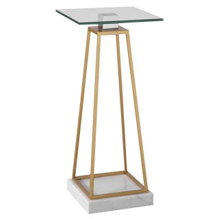 Modern Style Glass and Marble Drink Table For Sale