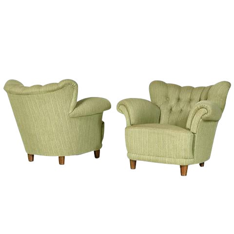 1940s Scandinavian Tufted Lounge Chairs - A Pair - Image 1 of 7