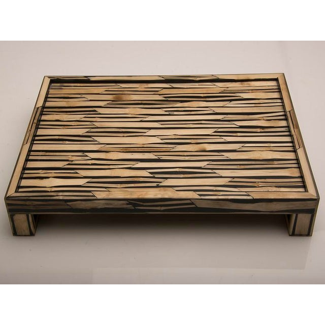 Bamboo Malaysian Modern Bamboo Inlaid Serving Tray with Handles For Sale - Image 7 of 7