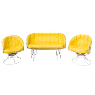 1970s Vintage Homecrest Yellow Patio Furniture Set- Set of 3 For Sale