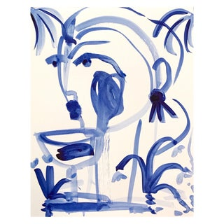 "Leslie Weaver ""Flowers and Wine in Indigo"" Acrylic Painting"