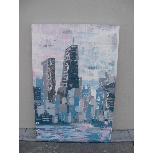 Abstract 2000s Abstract Hancock Tower Chicago Painting For Sale - Image 3 of 6