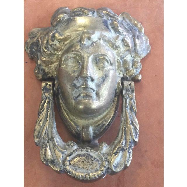 Classic Head Brass Door Knocker For Sale - Image 4 of 4