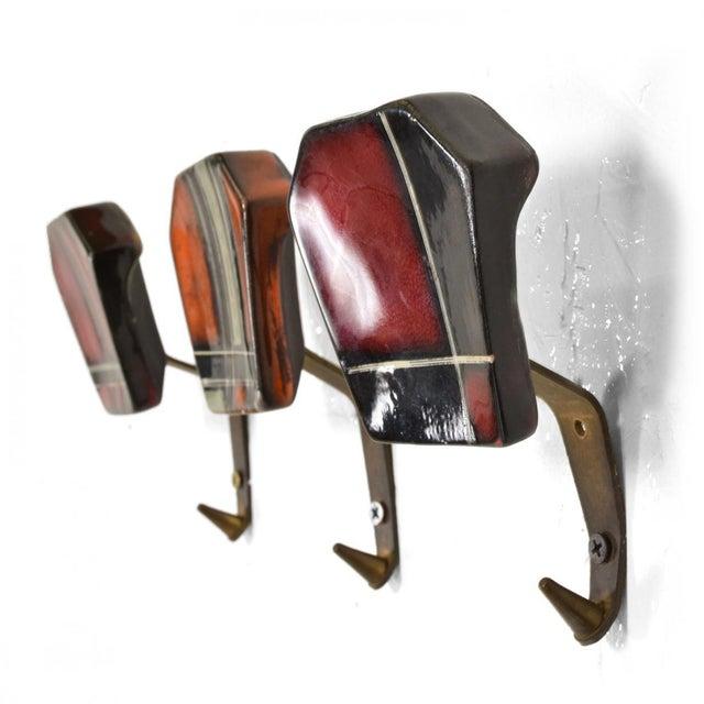Mid-Century Modern Ceramic & Brass Decorative Coat Hat Racks Hooks - Set of 3 For Sale - Image 10 of 10