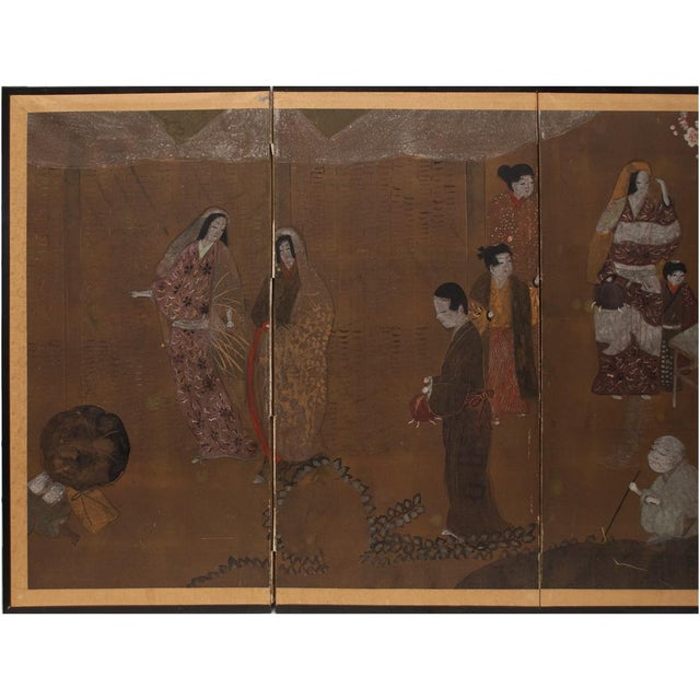 A lovely Japanese Byobu Screen depicting market scene. 4 panels. Watercolor and gouache on gold leaf plates over paper....