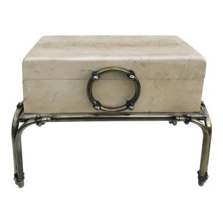 Small Karl Springer Shagreen & Chrome Chest on Stand For Sale