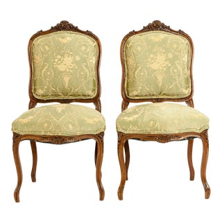 Mid-19th Century Mahogany Wood Frame Side Chairs - a Pair For Sale