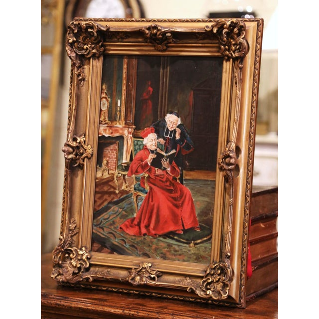 """This antique portrait painting titled """"L'Eveque a la Lecture"""" (the bishop reading), was created in France, circa 1890. The..."""