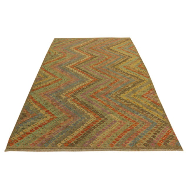 Contemporary Contemporary Tribal Edgardo Gray/Blue Hand-Woven Kilim Wool Rug -6'9 X 9'7 For Sale - Image 3 of 8