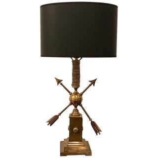 French Modern Brass Arrow and Rope Motif Lamp For Sale