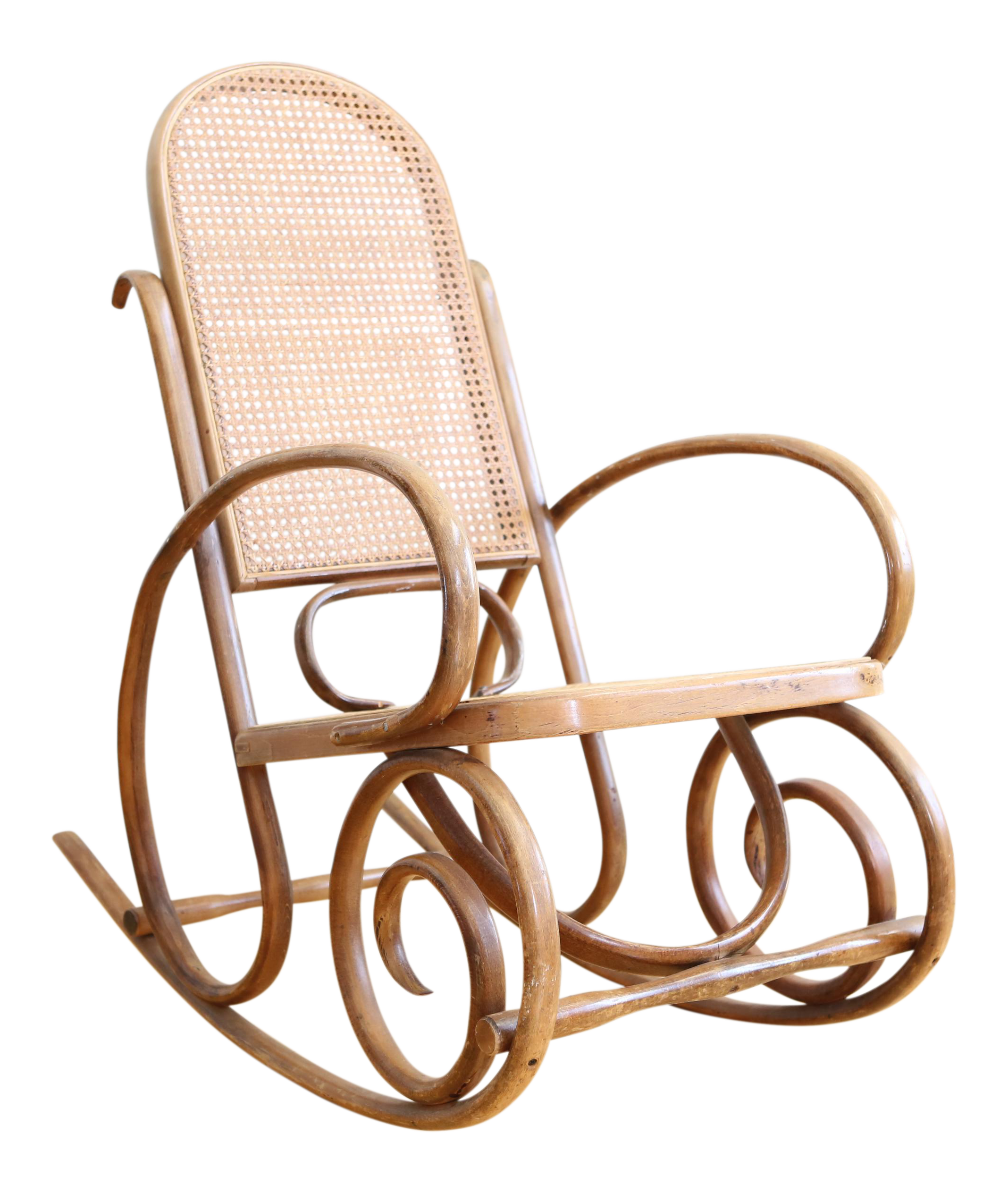 Michael Thonet Style Bentwood Cane Back Rocking Chair