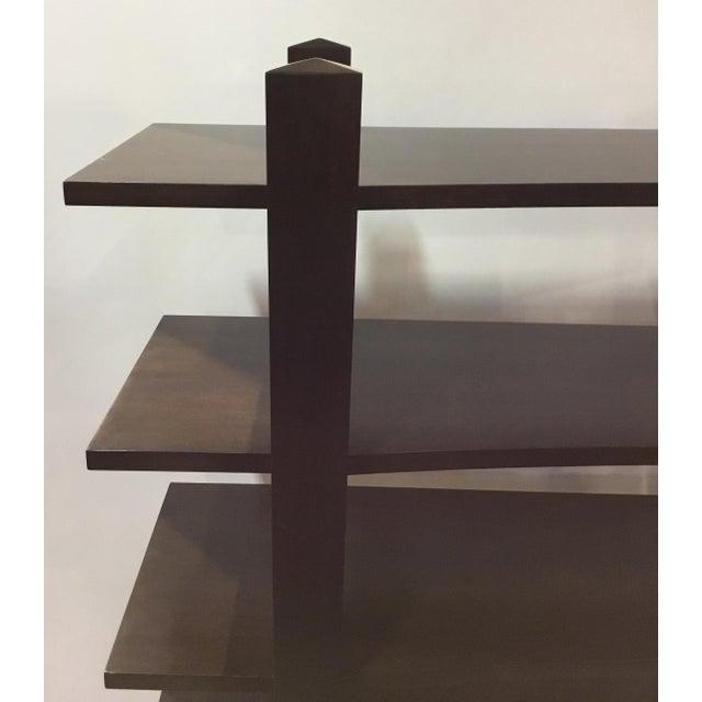 Stylish Henredon modern dark walnut finished wood bookcase/etagere, five shelves, showroom floor sample, original retail...