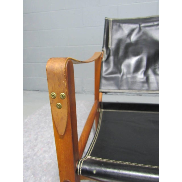 Black Leather Safari Chair by Kaare Klint for Rud Rasmussen For Sale - Image 9 of 10
