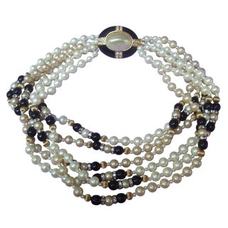 Elegant Glass Enamel Pearl Choker Necklace C 1980s For Sale