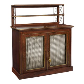 Regency Style Brass-Mounted Rosewood Chiffonier Server Console For Sale