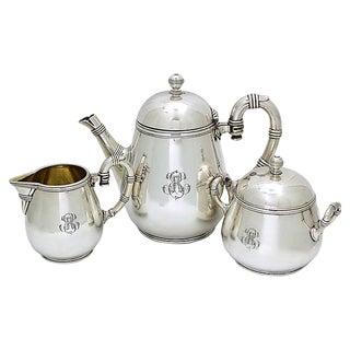 """Antique Christofle Silver-Plate """" R """" Tea Set - 3Pcs For Sale"""