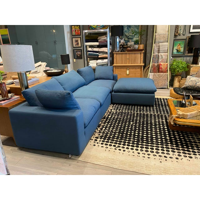 Textile Overstuffed Blue Linen 4 Piece Sectional Sofa For Sale - Image 7 of 13