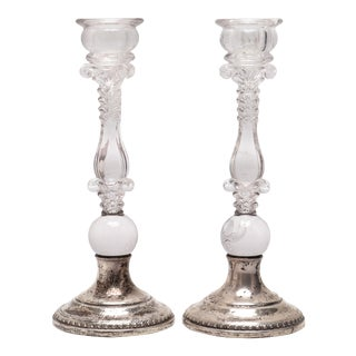 Modern Silver & Glass Candlesticks With Palmette Motif - a Pair For Sale