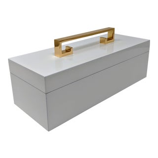 White Enamel Finish Decorative Box With Gold Handle For Sale