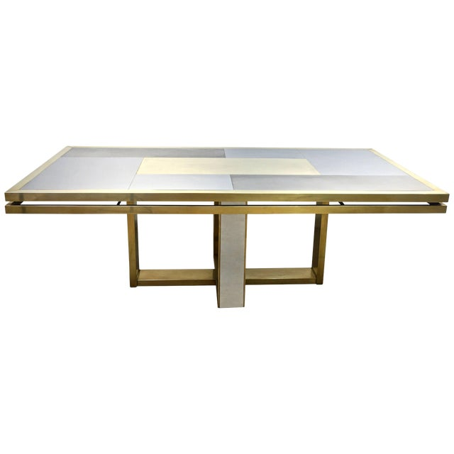 Sinopoli 1970s Italian Brass Satin & Chrome Geometric Large Dining / Hall Table For Sale