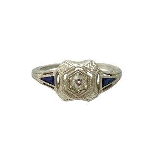 Edwardian Platinum Diamond and Sapphire Filigree Ring For Sale