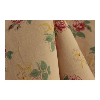 Vintage Floral Fabric French Rayon Linen Faded Print 1930 Greens Pinks Yellows For Sale