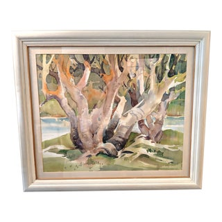 Vintage Mid-Century Jerome Priebe Gaston Watercolor on Paper Painting For Sale