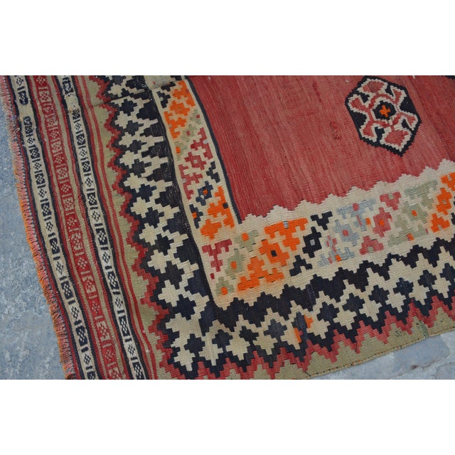 Semi Antique Persian Handwoven Kilim Wool Rug - 4′8″ × 8′5″ For Sale - Image 4 of 6
