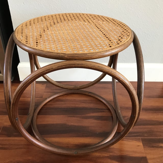 Vintage Bentwood and Cane Ottoman - Image 5 of 5