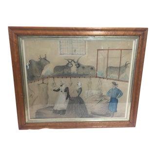 19th Century Folk Art Panting of a Butcher Shop For Sale