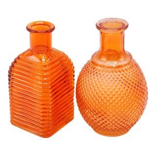 Orange Glass Vases - Set of 2 For Sale