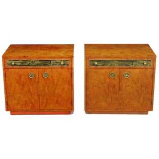 Rare Mastercraft Tangerine Burl Amboyna Nightstands With Acid Etch Detail For Sale