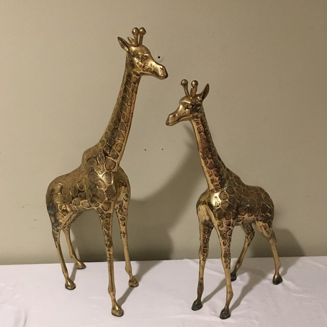 Hollywood Regency Mid-Century Modern Brass Giraffe - A Pair For Sale - Image 3 of 9