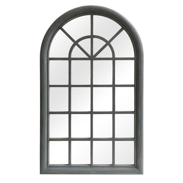 Distressed Solid Wood Gray Arched Wood Frame Accent Mirror For Sale - Image 4 of 4