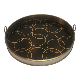 Contemporary Gold Leather Serving Tray