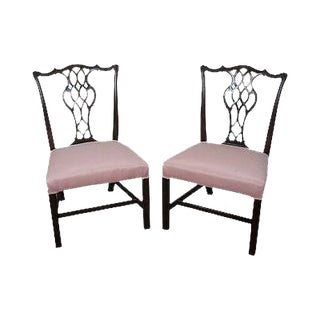 Schmieg & Kotzian Antique Pair of Chippendale Style Side Dining Chairs For Sale